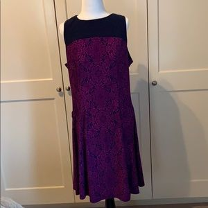 Chaps purple and navy dress